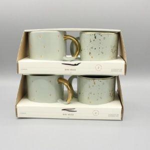 NWT HEARTH & HAND Magnolia Mint Gold Mini Mug SET
